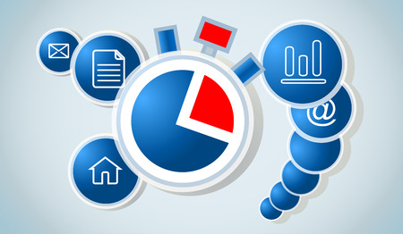 Vector time work concept - time management. Modern illustration with stopwatch and business icons