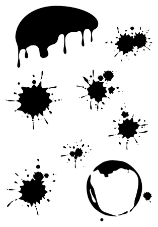 coffee spill: Set of black grunge stains background textures, vector Illustration