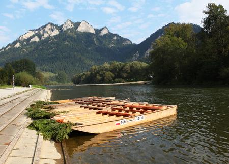 Wood raft in autumn landscape, Trzy Korony,Pieniny, Beskid Niski Mountains, Poland