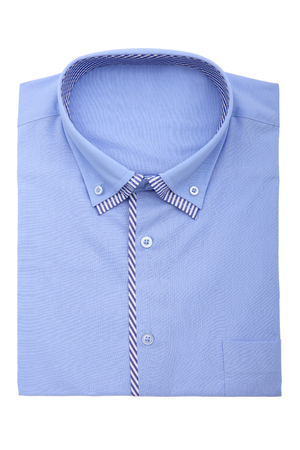 dry cleaned: A new blue mans shirt isolated over a white background