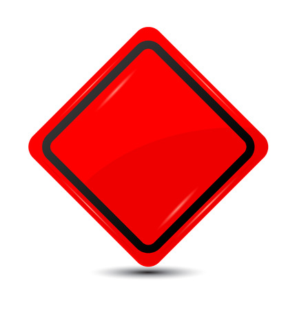 Blank red traffic road sign.
