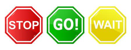 Vaya, espera, y detener de control / señales de tráfico, señales