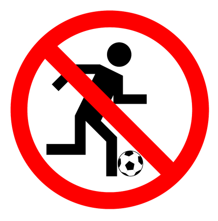 Prohibición de jugar al fútbol, ??ningún juego de fútbol o signo, ilustración vectorial