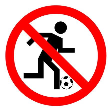 no correr: Prohibición de jugar al fútbol, ??ningún juego de fútbol o signo, ilustración vectorial