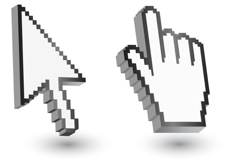 help section: Pixel cursors icons: mouse hand arrow Vector Illustrations.