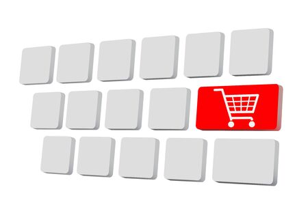 shoppingcart: Shopping on-line , red key with basket symbol