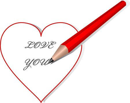 Red heart wit Love you text and pencil.
