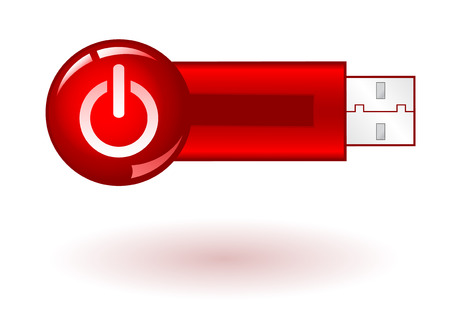 microdrive: USB Pendrive with red power icon, on white background, vector illustration