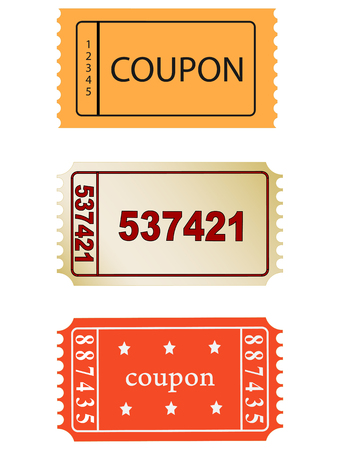 general merchandise: set of vector coupon, ticket  icons, vector, eps 10