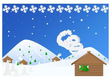 flurry: Landscape Winter Christmas Snowy Night. Vector illustration Illustration