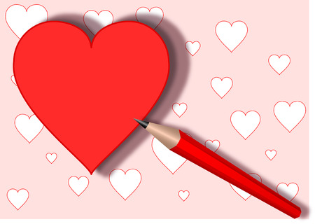 Heart and red pencil , vector, eps 10 Stock Photo