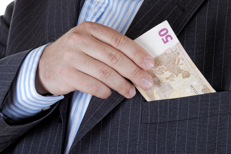 'hide out': Businessman takes out money from your pocket.