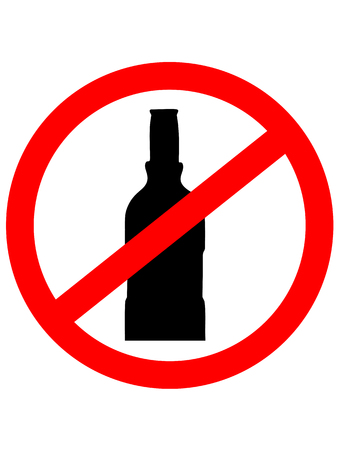 not permitted: Prohibition sign icon.  No drink with bottle. Vector illustration.
