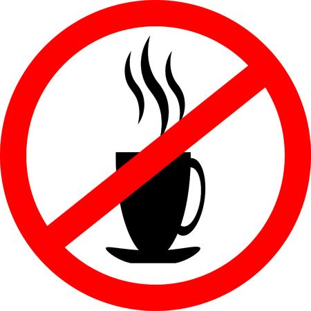 Verbod teken pictogram. Geen warme koffie of thee drinken. Vectorillustratie met een stomende kop