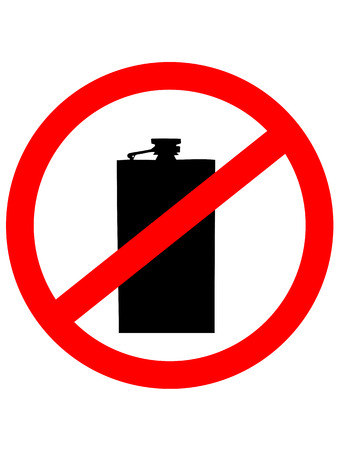 not permitted: Prohibition sign icon. No drink with Hip flask. Vector illustration