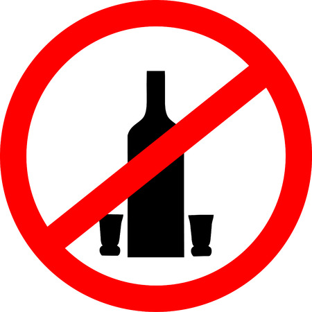 not permitted: No drinking sign. No alcohol sign isolated on white background.  Vector illustration Illustration