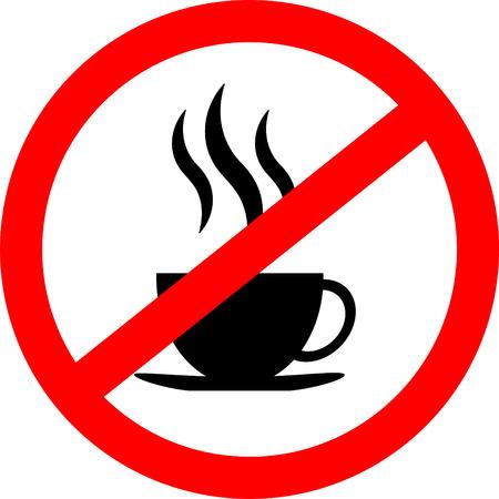 Geen koffiekop teken icoon, rood verbod teken, stop symbool, geïsoleerd op een witte achtergrond, vector illustratie.