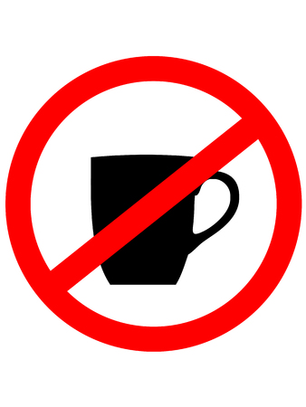 no symbol: No cup sign icon. Coffee button. Red prohibition sign. Stop symbol. Vector Illustration