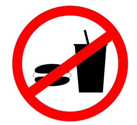 forbidden pictogram: Prohibition sign icon.No eating and no drinks allowed isolated on white background.