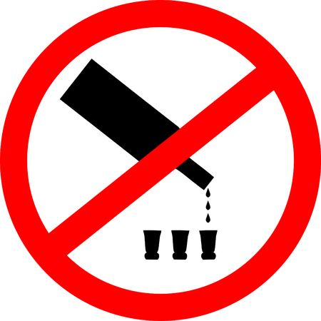 not permitted: No drinking sign. No alcohol sign isolated on white background. Vector illustration