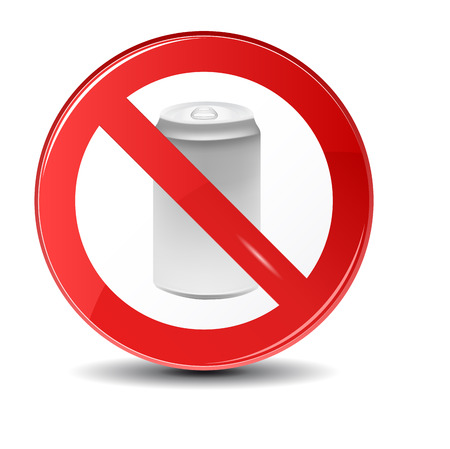soda: Soda can no trashing vector icon. Prohibition sign icon