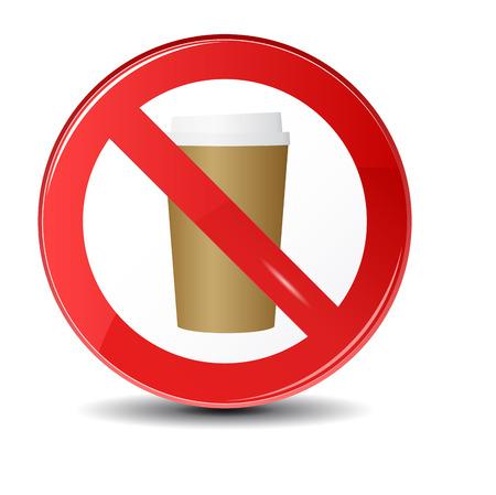 Verbodssymbool.Niet een warme koffie of thee drinken. Vector illustratie met een stomende beker