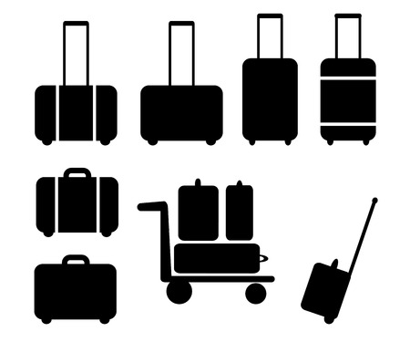 handcart: Set ofblack  suitcase icon, pictogram