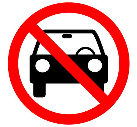 No car or no parking traffic sign,prohibit sign.vector Illustration