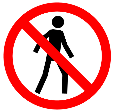 dont walk: No walking traffic sign. Prohibited signs silhouette of walking man in a crossed circle isolated on white background.