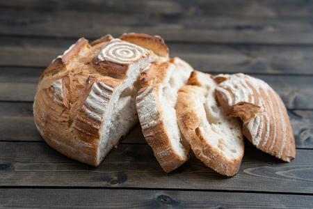Sourdough bread on wooden table