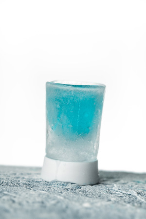 Ice Shot with blue alcohol