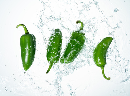 Freeze Motion of Jalapeno Peppers with Water Splash