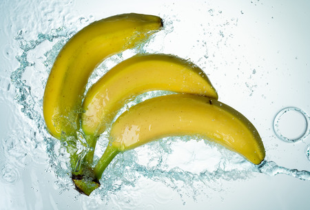Bananas Water Splash on white background