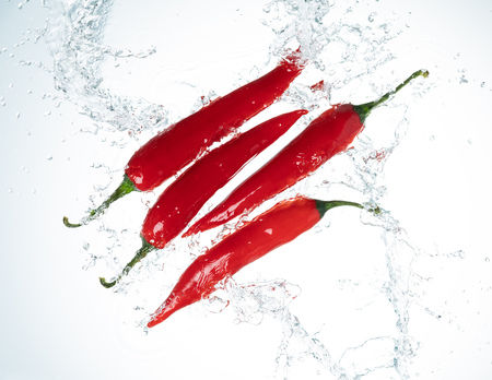 Red Chili Peppers Water Splash on White Background