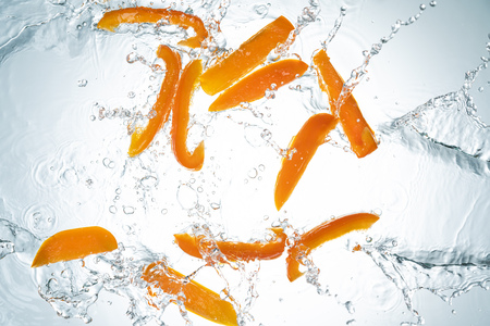 Freeze Motion of Bell Peppers Water Splash
