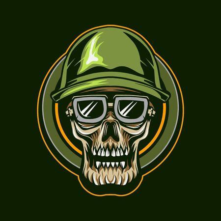 skull military soldier vector illustration design