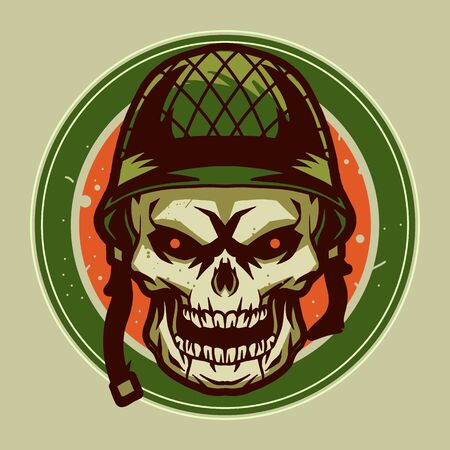 military skull head with war helmet and circle frame
