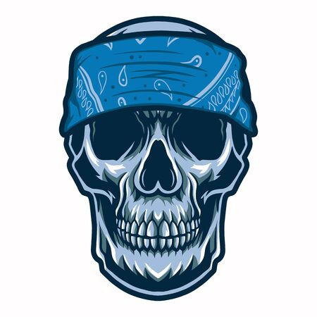 skull head gangster with bandana vector illustration isolated on white background