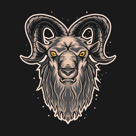 ram goat vector illustration design on dark background