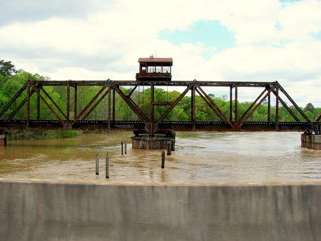 railroad bridge over the ocmulgee river Stok Fotoğraf