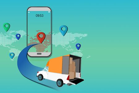 Illustration 3d shopping online on the smartphone for delivery idea creative with social networks on the world map.  concept of  network on delivery service on the world on social media