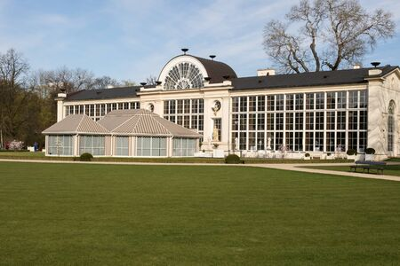 sobieski: Poland,Warsaw.Lazienki Royal Park.Old and New Orangery - garden buildings, used for growing exotic plants.Currently, there is also a restaurant.Photo was taken in April 2015 Stock Photo