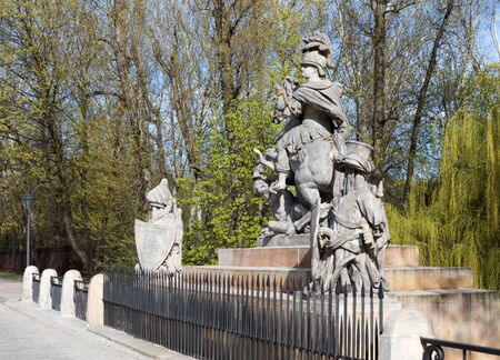 sobieski: Poland,Warsaw.Statue of King John III Sobieski in Warsaw near Lazienki Royal Park.Sculpture carved by Francis Pinck placed opposite the Palace Lazienki on Agricola Street, designed by Andrew Le Brun.Horizontal ,close view from right side.Photo was taken i