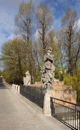 sobieski: Poland,Warsaw.Statue of King John III Sobieski in Warsaw near Lazienki Royal Park.Sculpture carved by Francis Pinck placed opposite the Palace Lazienki on Agricola Street, designed by Andrew Le Brun.Vertical view from right side.Photo was taken in April 2 Stock Photo