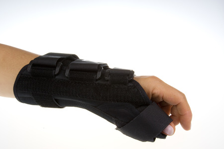 forearm: Forearm from wrist orthosis.Horizonta view.Isolated white background.Side view and top.