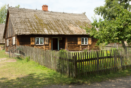 coutryside: Poland in summer. The historic cottage village of te 19th century from the area of Pomerania.Outdoor museum in Wdzydze Kiszewskie Editorial