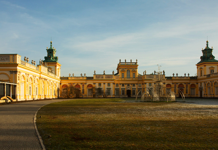 sobieski: Poland-Warsaw, Wilanow, December 2015.View on the Royal Palace and light decorations in front of the palace, Warsaw in December 2015 ,editorial. Editorial