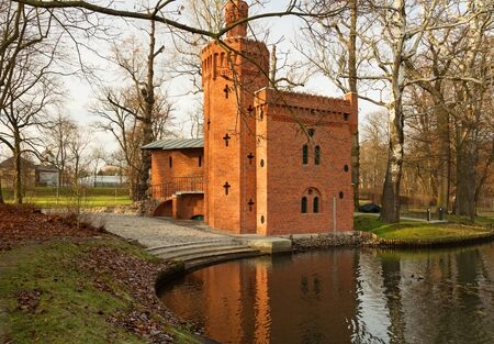 wilanow: Poland-Wilanow, December 2015. Historic water pumping station to the royal gardens in Lazienki Royal Park in Wilanow, December 2015.Editorial.