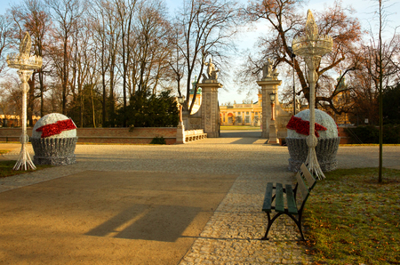 sobieski: Poland,Warsaw,Wilanow,December 2015.The main avenue with Christmas decoration,for entry into the Royal palace in Wilanow,Poland,warsaw in December 2015.Editorial.