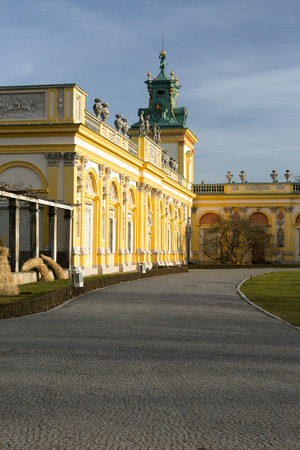 Poland-Warsaw,Wilanow in December 2015.View of the left wing of the Royal Palace in Wilanow,Poland,December 2015.Editorial,vertical view. Editorial